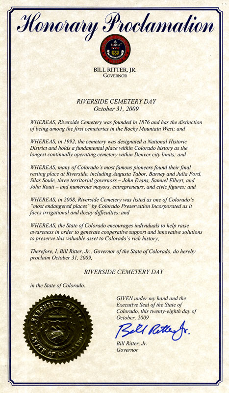 Governor Ritter declares October 31st as Riverside Cemetery Day